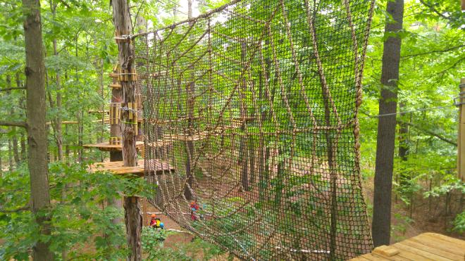 spider web puzzle at Skywood Eco Advenure Park in Ontario